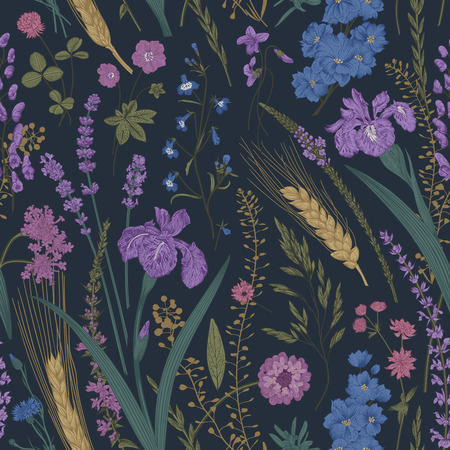 Summertime. Seamless pattern. Flowers and plants of fields and forests. Vector vintage botanical illustration. Dark color Çizim