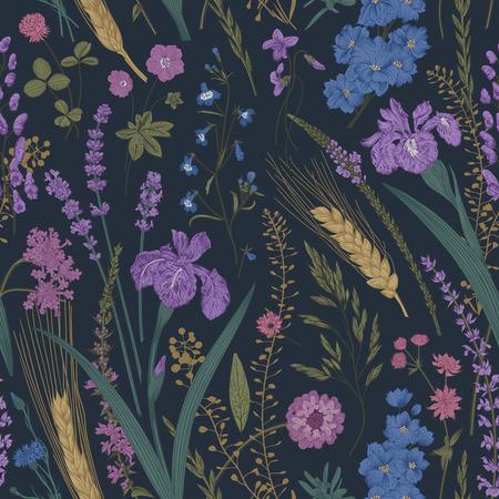 Summertime. Seamless pattern. Flowers and plants of fields and forests. Vector vintage botanical illustration. Dark color Ilustração