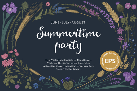 Summertime party. Summer night. Floral horizontal card.