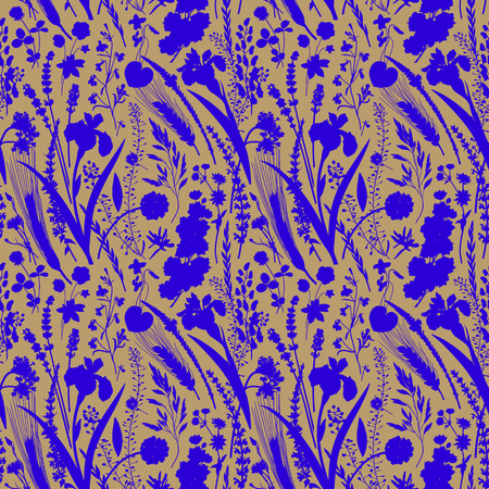 Seamless pattern. Silhouettes of flowers and plants. Blue and beige Çizim