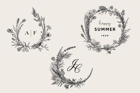 Floral wreaths. Design elements. Flowers and plants of fields and forests. Vector vintage botanical illustration. Black and white