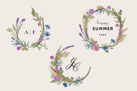 Blumenkränze. Design-Elemente. Blumen und Pflanzen von Feldern und Wäldern. Vector Weinlese botanische Illustration.