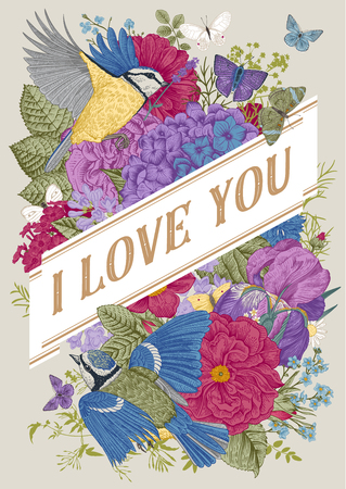 Vintage Greeting vector card for Valentines Day. I love you. Flowers, birds, butterflies. Colorful