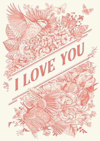Vintage Greeting vector card for Valentines Day. I love you. Flowers, birds, butterflies. Coral color