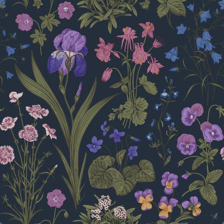 Motif floral sans couture. Jardin du crépuscule. Illustration botanique vintage de vecteur. Couleurs magiques