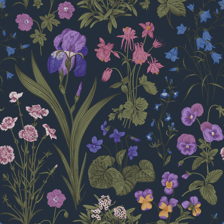 Seamless floral pattern. Twilight garden. Vector vintage botanical illustration. Magic colors