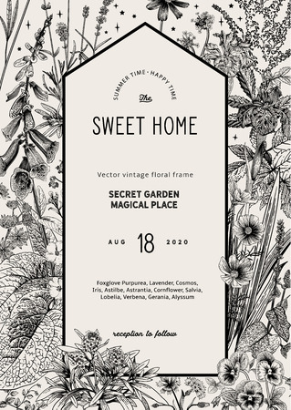 Vintage vector card. Sweet house in the secret garden. Summer garden flowers. Classic illustration. Black and white