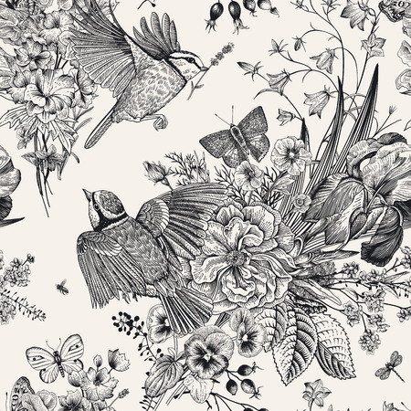 Seamless floral pattern. Tits, flowers, butterflies. Vector vintage botanical illustration. Black and white Archivio Fotografico - 126375813