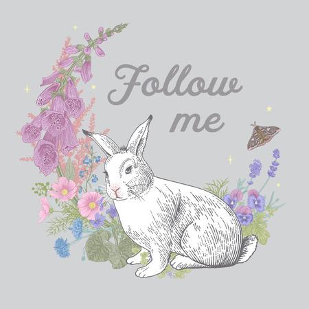 White rabbit. Flower wreath. Vintage classic illustration. Follow me. Pastel color Illustration