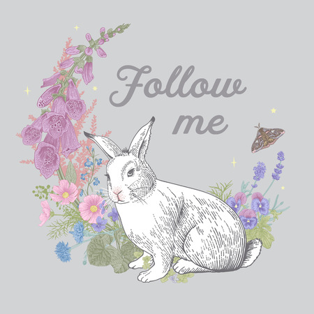 White rabbit. Flower wreath. Vintage classic illustration. Follow me. Pastel color Illusztráció