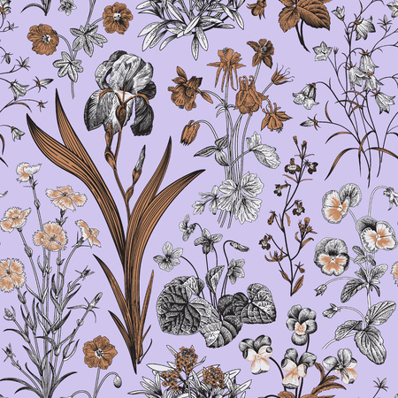 Seamless floral pattern. Vector vintage botanical illustration. Violet, gold, black and white colors Çizim