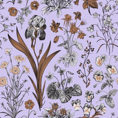 Seamless floral pattern. Vector vintage botanical illustration. Violet, gold, black and white colors Illustration