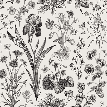 Seamless floral pattern. Vector vintage botanical illustration. Black and white Çizim