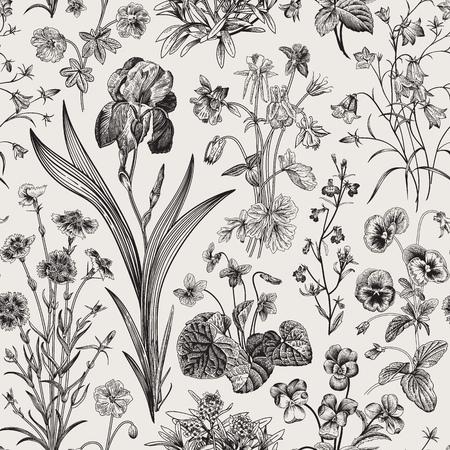 Seamless floral pattern. Vector vintage botanical illustration. Black and white Illustration