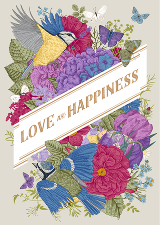 Vintage Greeting vector card for Valentines Day. Love and Happiness. Flowers, birds, butterflies. Colorful