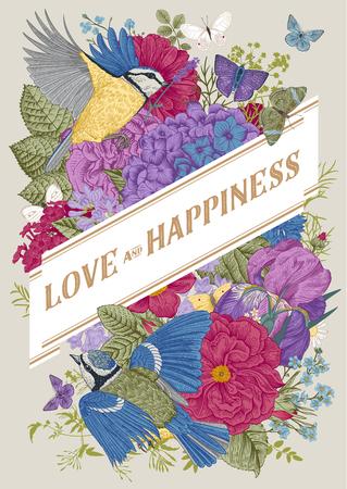 Tarjeta de vector de felicitación vintage para el día de San Valentín. Amor y felicidad. Flores, pájaros, mariposas. Vistoso