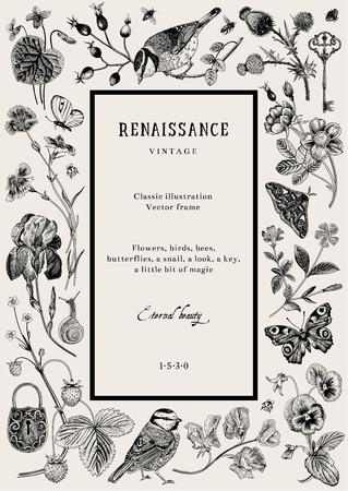 Tarjeta de vector vintage. Marco renacentista. Ilustración clásica. En blanco y negro