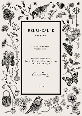 Vintage vector card. Renaissance frame. Classic illustration. Black and white 写真素材 - 114778958