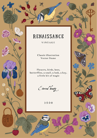 Vintage vector card. Renaissance frame. Classic illustration. Colorful