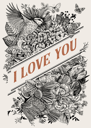 Vintage Greeting vector card for Valentines Day. I love you. Flowers, birds, butterflies. Black and white Illustration