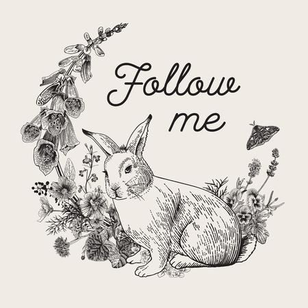 White rabbit. Flower wreath. Vintage classic illustration. Black and white. Follow me