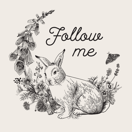 White rabbit. Flower wreath. Vintage classic illustration. Black and white. Follow me