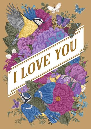 Tarjeta de vector de felicitación vintage para el día de San Valentín. te quiero. Flores, pájaros, mariposas sobre un fondo dorado. Ilustración de vector