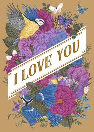 Vintage Greeting vector card for Valentines Day. I love you. Flowers, birds, butterflies on a gold background