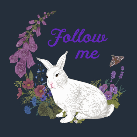 White rabbit. Flower wreath. Vintage classic illustration. Follow me Çizim