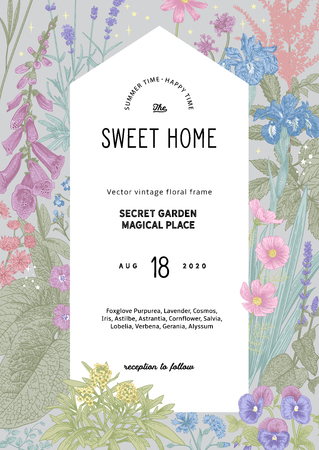 Vintage vector invitation. Sweet house in the secret garden. Summer garden flowers. Classic illustration. Pastel color