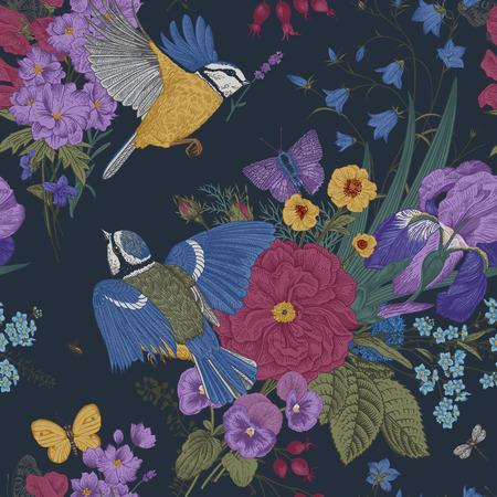 Kwiatowy wzór. Cycki, kwiaty, motyle. Vintage ilustracji botanicznych wektor. Ciemny