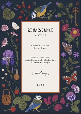 Tarjeta de vector vintage. Marco renacentista. Ilustración clásica