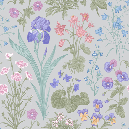 Seamless floral pattern. Garden flowers. Vector vintage botanical illustration. Pastel color