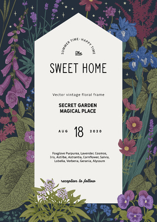Vintage vector card. Sweet house in the secret garden. Summer garden flowers. Classic illustration. Purple, blue, violet color