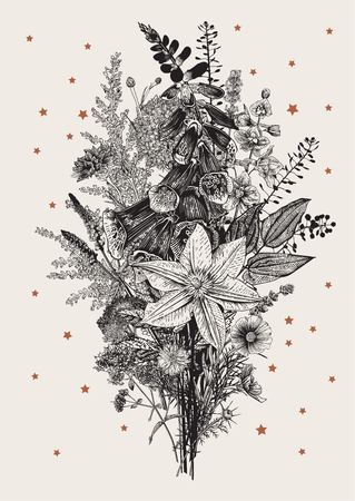 Flower Bouquet. Vector vintage illustration. Garden flowers. Black and white