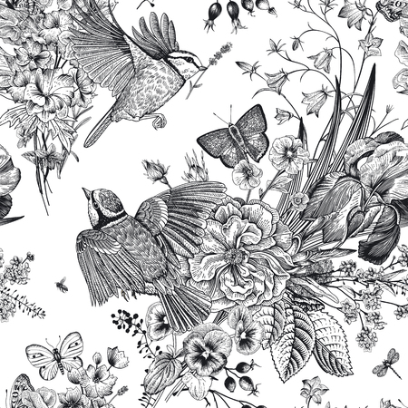 Motivo floreale senza soluzione di continuità. Tette, fiori, farfalle. Illustrazione botanica dell'annata di vettore. Bianco e nero