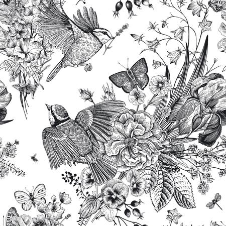 Nahtloses Blumenmuster. Titten, Blumen, Schmetterlinge. Botanische Illustration der Vektorweinlese. Schwarz und weiß