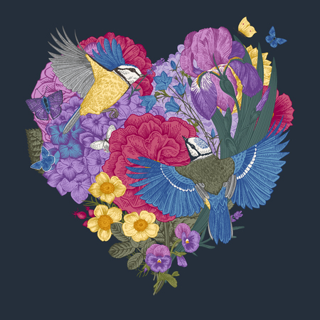 Vintage composition with flowers, butterflies, birds in the shape of a heart. Vector illustration.