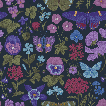 Seamless botanical vintage pattern. Vector illustration. Meadow and garden butterflies and flowers. Deep colors