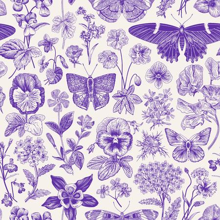 Modello vintage botanico senza soluzione di continuità. Illustrazione vettoriale. Farfalle e fiori del prato e del giardino. ultravioletto Vettoriali