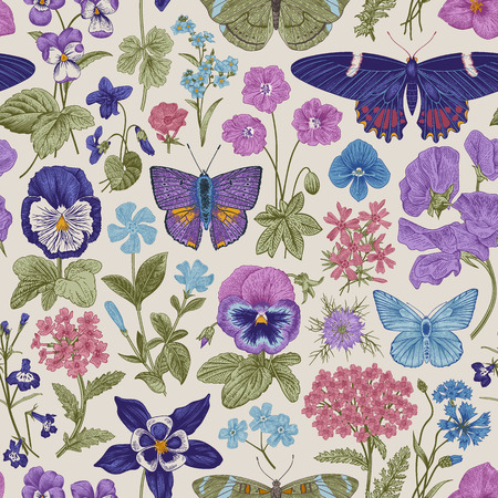 Seamless botanical vintage pattern. Vector illustration. Meadow and garden butterflies and flowers. Blue, purple, pink colors Çizim