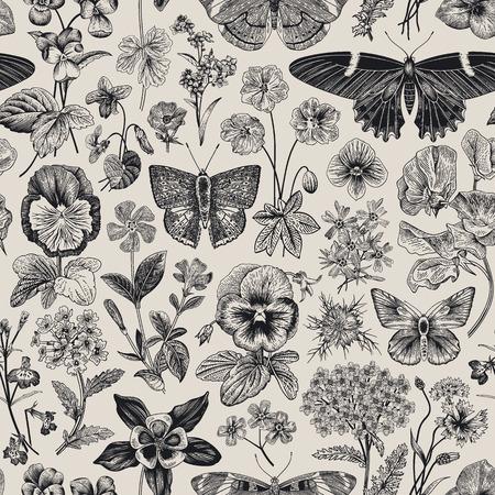 シームレスな植物ヴィンテージパターン。ベクターの図。牧草地と庭の蝶や花。白黒