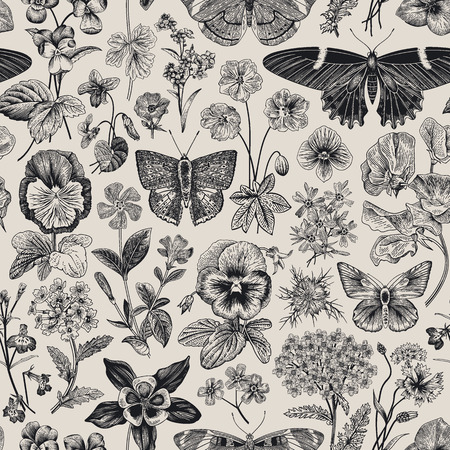 Seamless botanical vintage pattern. Vector illustration. Meadow and garden butterflies and flowers. Black and white Ilustração