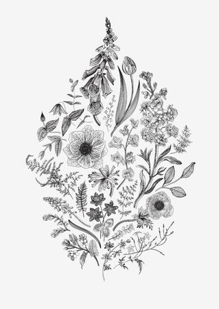 Frühlingszauber. Blumenkomposition. Vektor-Vintage-Illustration. Schwarz und weiß