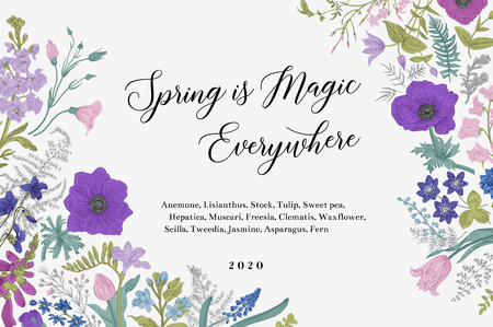 Spring magic. Horizontal card. Blue and purple flowers. Vector vintage illustration.