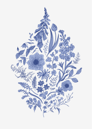 Spring life. Vintage vector botanical illustration. Blue and white. Toile de Jouy