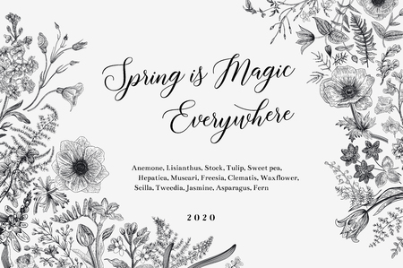 Spring magic. Horizontal card. Vector vintage illustration. Black and white