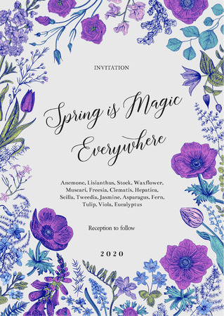 Spring magic. Invitation. Spring flowers with a blue contour. Vector vintage illustration.  イラスト・ベクター素材
