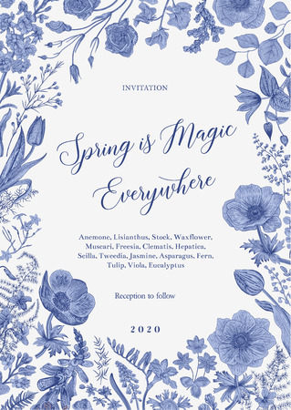 Spring magic. Invitation. Vector vintage illustration. Blue and white. Toile de Jouy