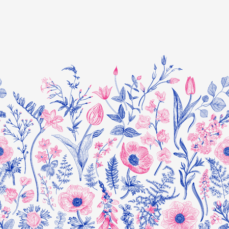 Spring magic. Seamless border. Vector vintage illustration. Blue and pink. Çizim